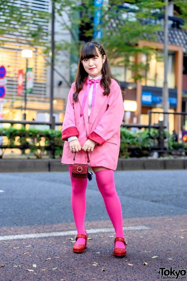 Super Pink Harajuku Street Style w/ Jenny Fax Tiny Jeweled Handbag, Jouetie, Ank Rouge Sparkling Heels