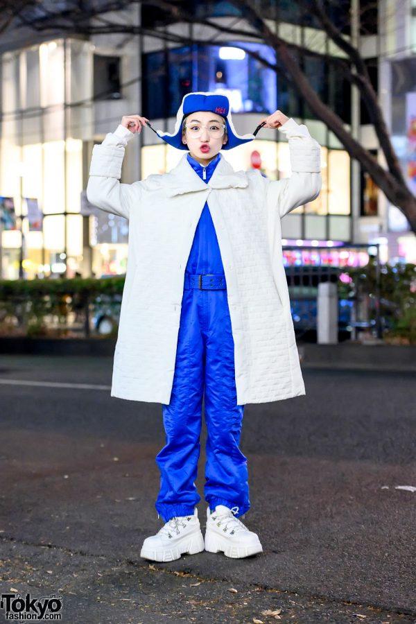 Japanese Dancer P-Chan in Harajuku w/ Vintage Quilted Coat, Jumpsuit, MEI Hat & Bershka Chunky Platform Sneakers
