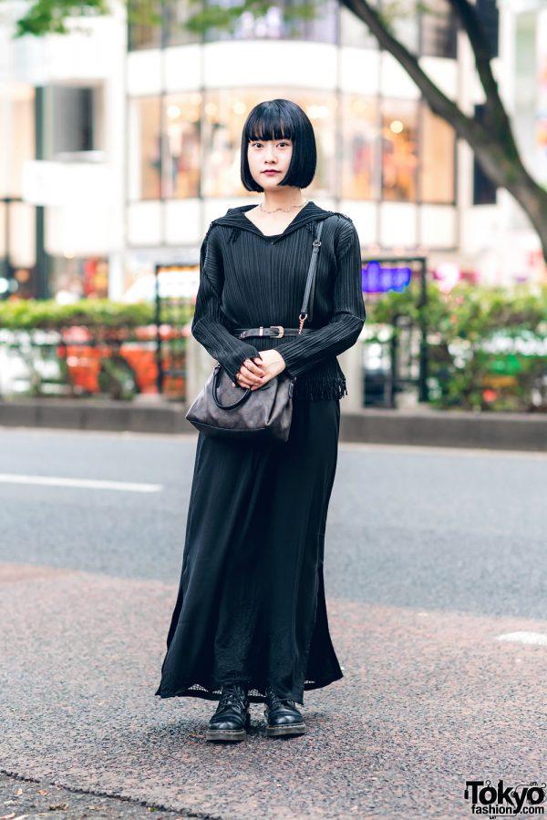 Japanese Pop Idol Street Style w/ Fringed Bob, Issey Miyake Pleated Top, Vintage Skirt, Maison Margiela, Coach & Dr. Martens Boots