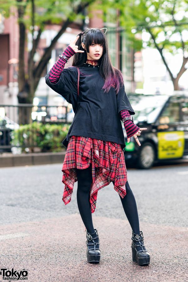 Black & Red Streetwear Style w/ Cat Ears, GU, Cecile, Asymmetric Plaid Skirt, Spinns & Demonia Caged Platforms