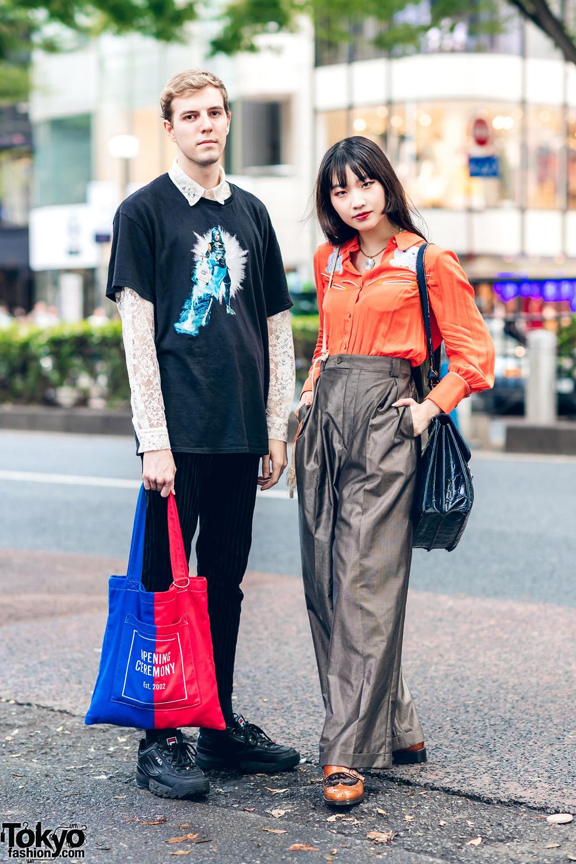 Harajuku Duo's Streetwear Styles w/ Zara, Sretsis, Otoe High Waist Pants, Opening Ceremony, Wingtip Shoes, FILA Chunky Sneakers & Vintage Fashion