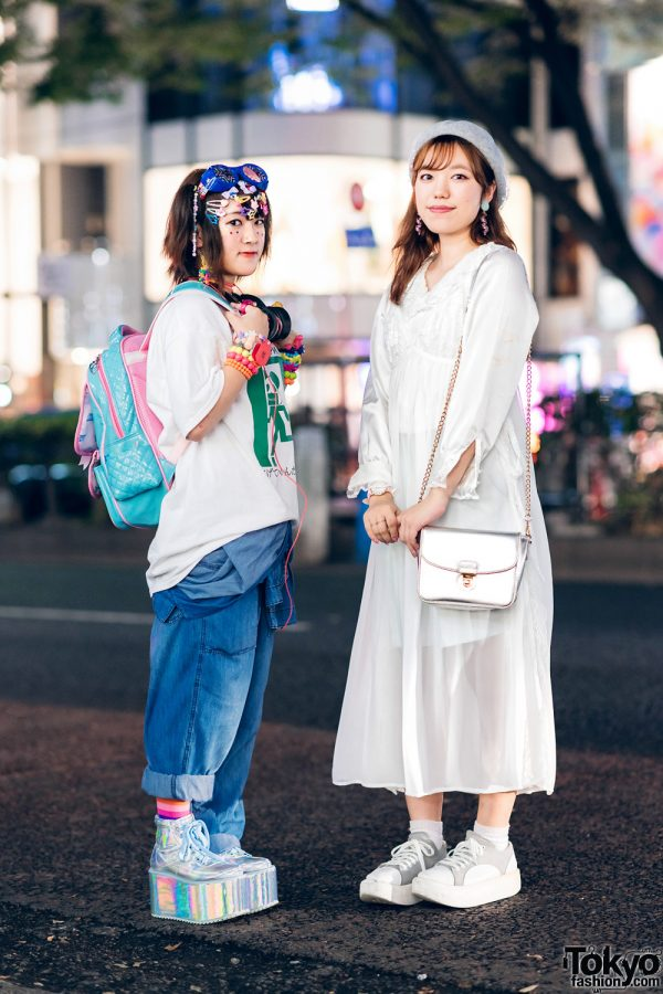 Japanese All White & Decora Streetwear Styles w/ Goggles, Decora Hair Clips, OOTD Japan Shirt, H&M, Jouetie, La Belle Etude Camisole Dress, ACDC Rag, Spinns & Tokyo Bopper