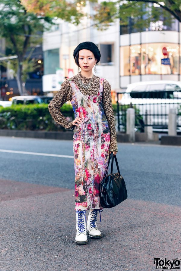 Eclectic Tokyo Street Style w/ Furry Beret, Rhinestone Earrings, The Four-Eyed Textured Top, Gauntlett Cheng Floral Dress, Vivienne Westwood Handbag & Dr. Martens Boots