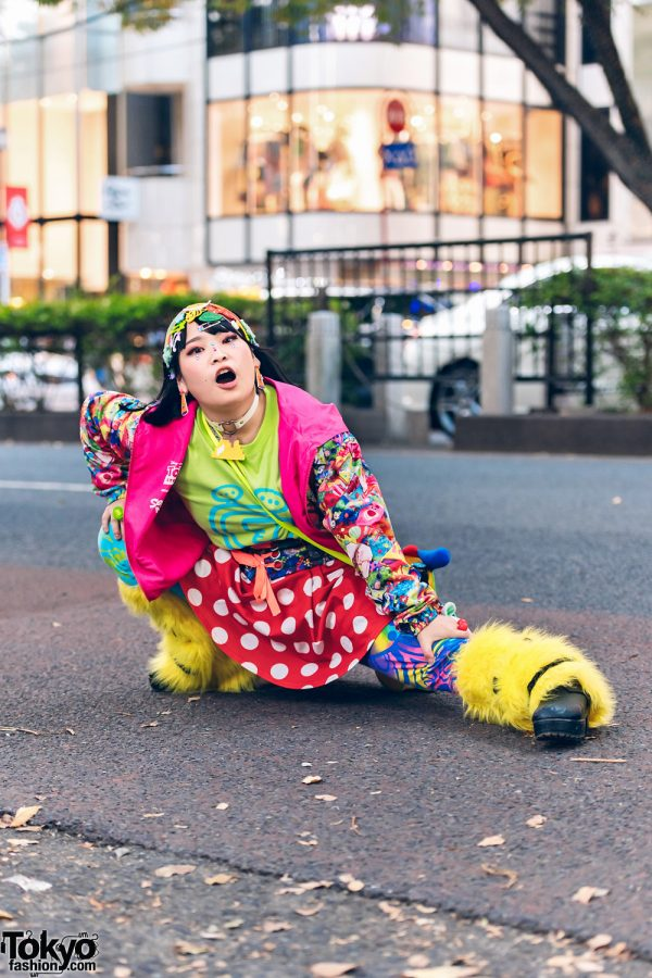 Tokyo Decora w/ Colorful Hair Clips, Smiley Face Leg Warmers, Disney Store Toy Story Jacket, Polka Dot Skirt, & Handmade Bag