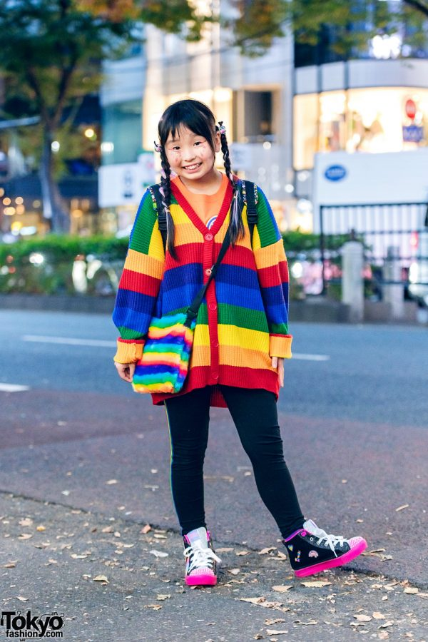 Japanese Child Actor's Harajuku Street Style w/ WC Rainbow Cardigan, Anap Girl, Nintendo Backpack, Rainbow Sling & Skechers Sneakers
