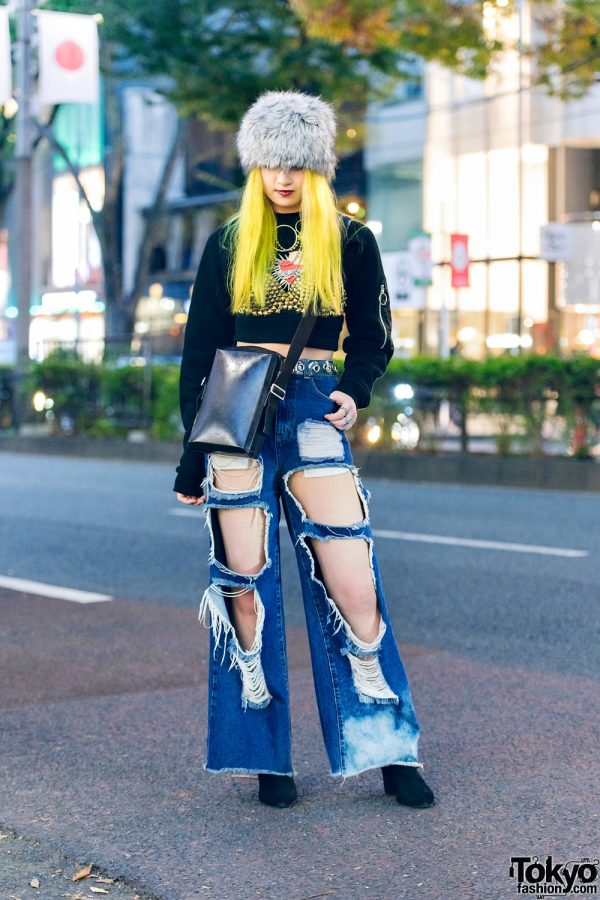 Japanese Streetwear w/ Furry Hat, Yellow Hair, Pameo Pose Cropped Sweater, Gallerie Tokyo Studded Bralette, Cutout Pants, Pinnap & Louis Vuitton Crossbody Bag
