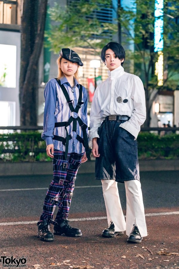 Harajuku Mens Fashion w/ Zippered Beret, Handmade Harness,  Yohji Yamamoto, Cyber Dyne, Dr. Martens & New Rock Boots