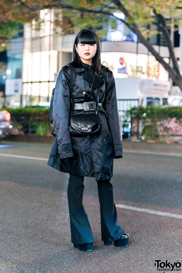 All Black Japanese Street Style w/ Long Bob, Trench Coat, Lace Shirt, Calico Flared Pants & Emoda Platforms