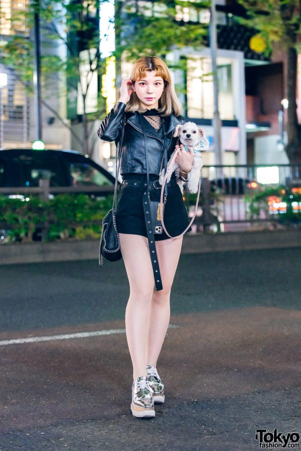 Chic Monochrome Japanese Street Style w/ Cute Dog, Patrizia Pepe Cropped Jacket, Rukus by Yasuhiro Tomita & Stella McCartney