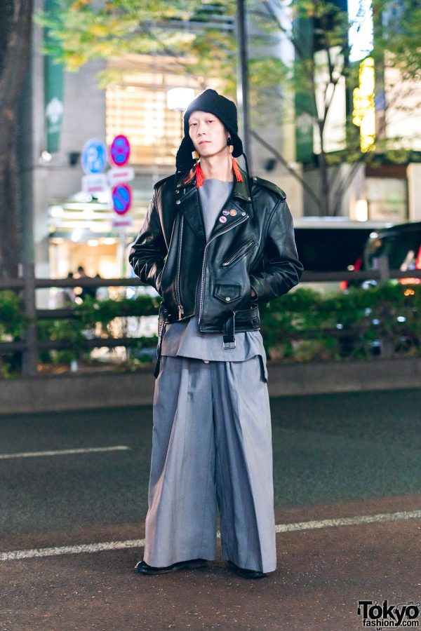 Japanese Musician/Model in Yohji Yamamoto Knit Hat, Mahjong Tassel Earrings, Keisuke Yoneda, Vintage Motorcycle Jacket & YSL Leather Shoes