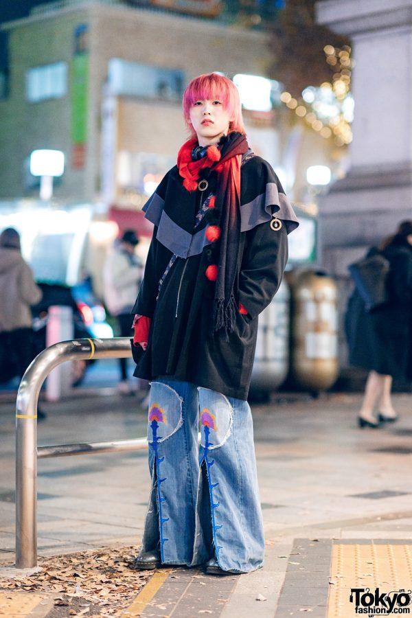Japanese Streetwear  w/ Red Hair, Headphones, Pom Pom Muffler, Capelet Jacket, Pameo Pose Flared Slit Jeans, Anna Sui & Dr. Martens