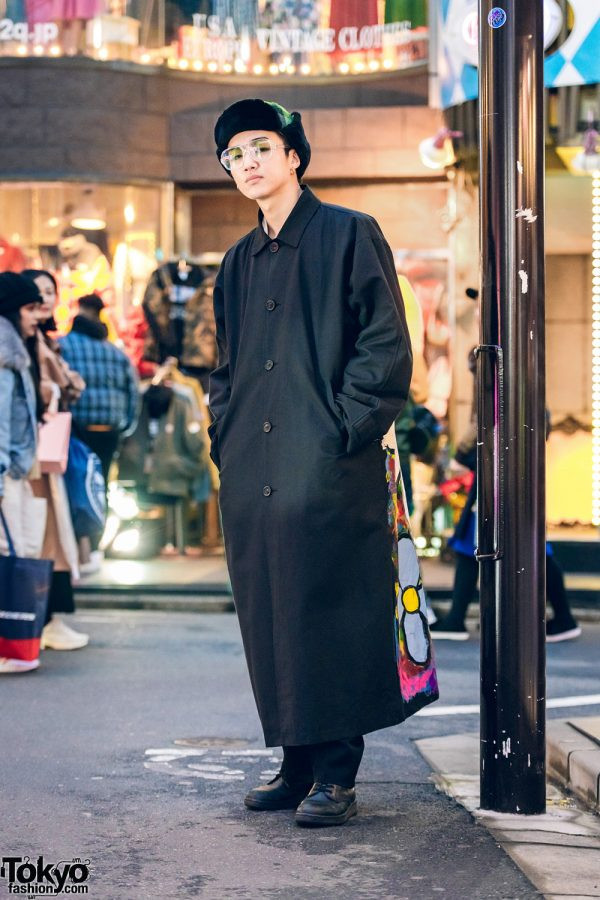 Japanese Remake Fashion w/ Comme des Garcons Furry Plaid Hat, Hand-Painted Overcoat, & Dr. Martens Boots