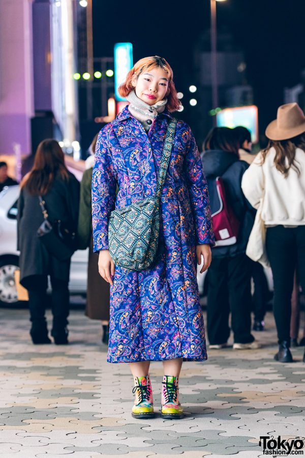 Tokyo Streetwear Style w/ Curly Ombre Bob, Paisley Print Quilted Coat, Polka Dot Shirt, GU Bag, & Hand-Painted Dr. Martens Boots
