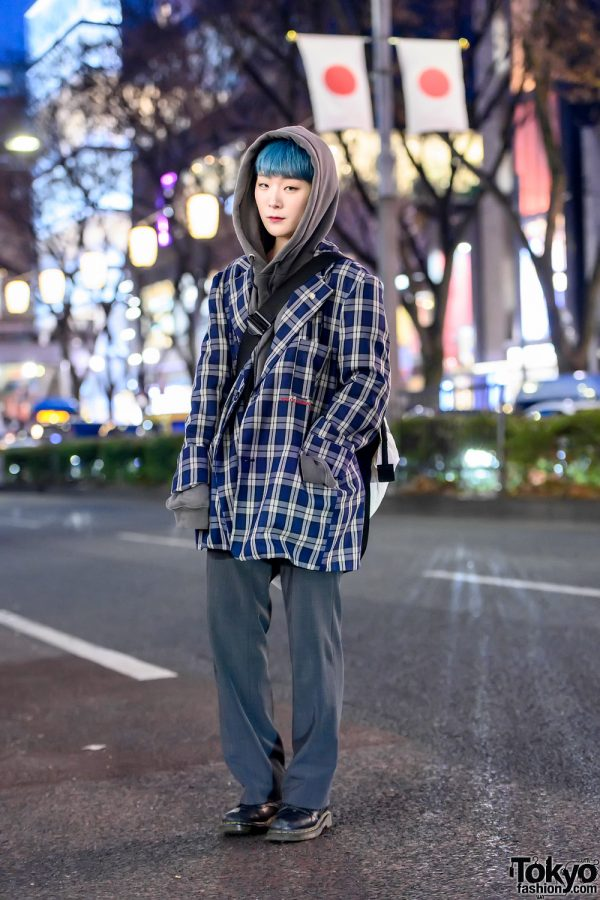 Japanese Hair Stylist in Harajuku w/ ESC Studio Plaid Jacket, Chance Chance Hoodie & Vintage Fashion