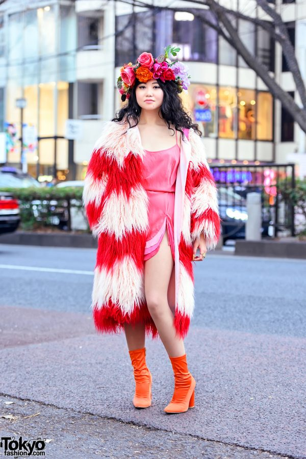 Flower Crown, Colorful Faux Fur Coat & Orange Sock Boots in Harajuku Japan