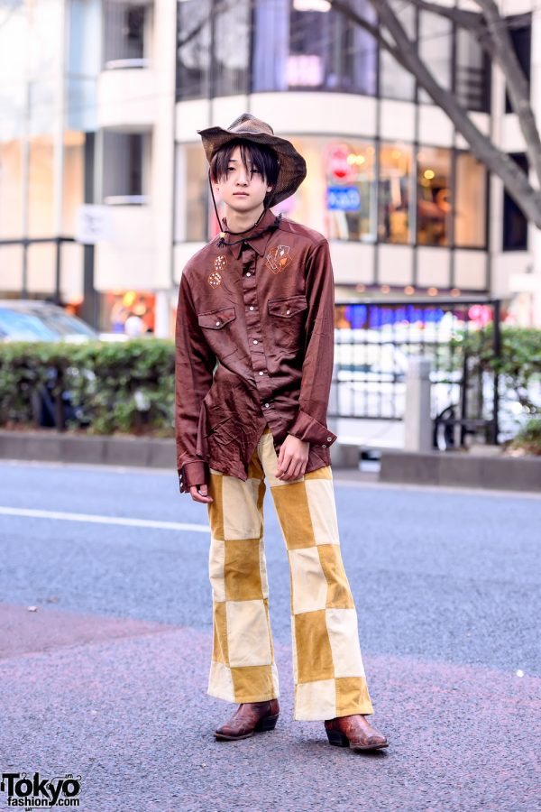 Western Themed Harajuku Street Style w/ Vintage Shirt, Straw Hat, Corduroy Pants & Cowboy Boots