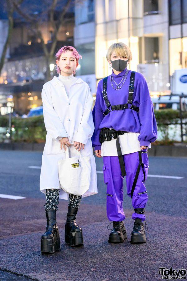 Harajuku Girls in Platform Boots, Face Mask, Harness, Pink Hair, Dog Osaka, Cozymost & Demonia