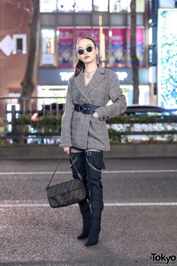 Envyn Belted Blazer w/ Shoulder Pads, Juemi Top, Fendi Bag & Yello Shoes Tall Boots Tokyo Street Style