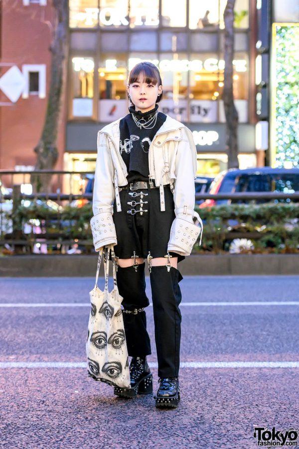 Harajuku Girl in MYOB NYC Fireman Joint Pants, Oversized Sleeve Jacket, Piercings & Studded Boots