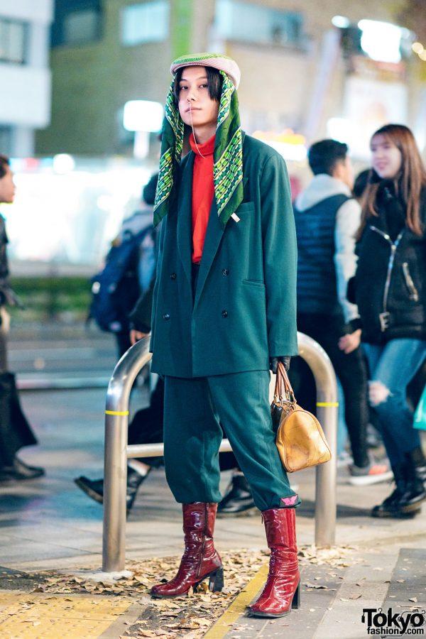 Japanese Menswear w/ Nose Chain, Headscarf, Leather Gloves, Vivienne Westwood, Faith Tokyo Suit, & Alviero Martini Bowler Bag