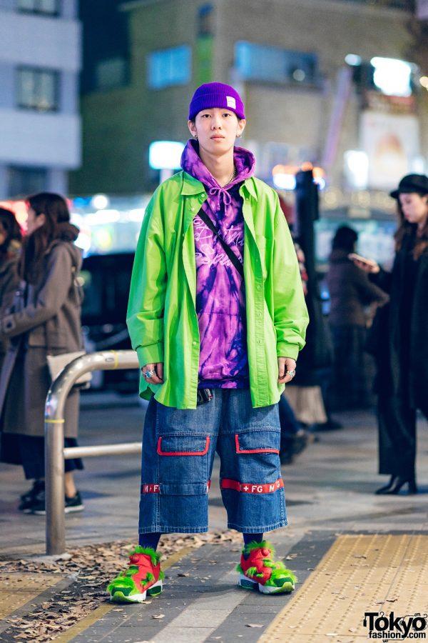 Harajuku Street Style w/ Purple Beanie, Nacht, Marithe + Francois Girbaud, AZS Tokyo Bag, & Reebok Insta Pump Fury Grinch Sneakers