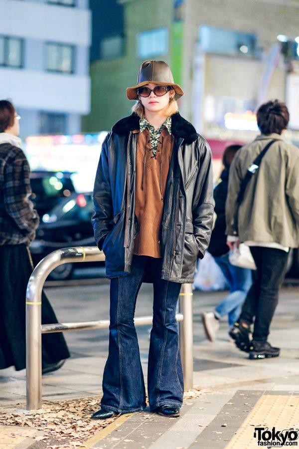 Harajuku Menswear w/ Bucket Hat, Dior Sunglasses, Yohji Yamamoto, Vintage Fur Collar Jacket, & Pointy Crocodile Boots