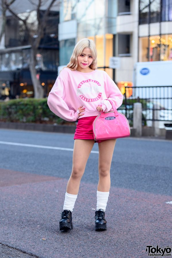 "Pink Kawaii Harajuku Style w/ ""Power Babe"" Sweatshirt, ""Baby Girl"" Bag, Spiral Harajuku Rings, Loose Socks & Yosuke Platforms"