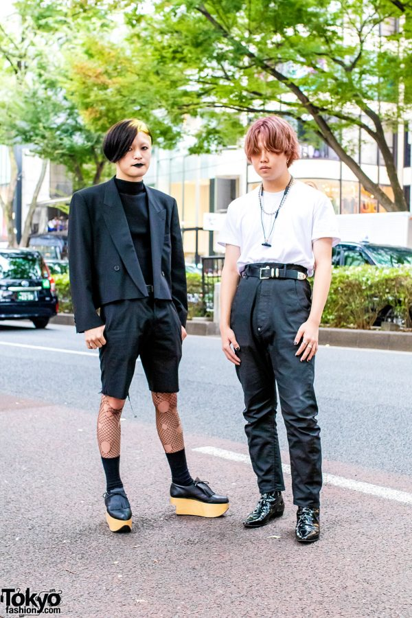 Harajuku Streetwear Styles w/ Two-Tone Hair, Ripped Fishnets, Issey Miyake Mock-Neck Top, Chrome Hearts, Saint Laurent & Vivienne Westwood Rocking Shoes