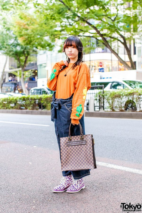 Casual Harajuku  Style w/ Septum Ring, Ten Box Sweatshirt, Louis Vuitton Leather Tote & Dr. Martens Leopard Boots