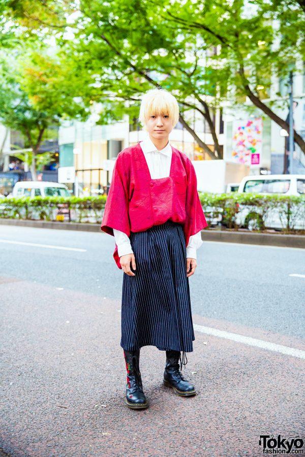 Harajuku  Style w/ Blonde Bob, Square Neck Kimono Top, Striped Pants, & Dr. Martens Floral Boots