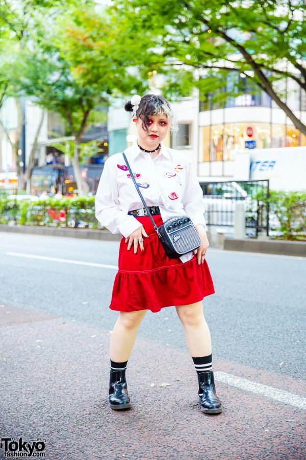Tokyo Style w/ Twin Buns, Heart Eye Makeup, Tiered Skirt, Sinz Radio Crossbody Bag & Dr. Martens Chelsea Boots