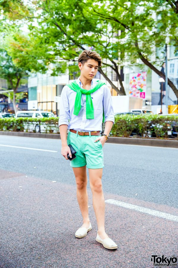 Preppy Menswear Style in Harajuku w/ Abercrombie & Fitch Shirt, Knit Sweater, Cuffed Shorts & Espadrilles