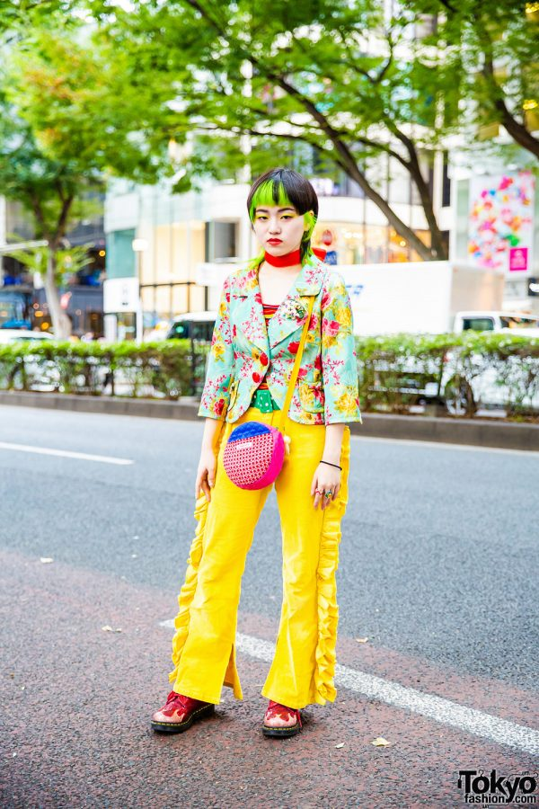 Colorful Harajuku  Street Fashion w/ Green Hair Tips, Little Sunny Bite, RRR Vintage, Oyasumi Club & Dr. Martens Glitter Boots