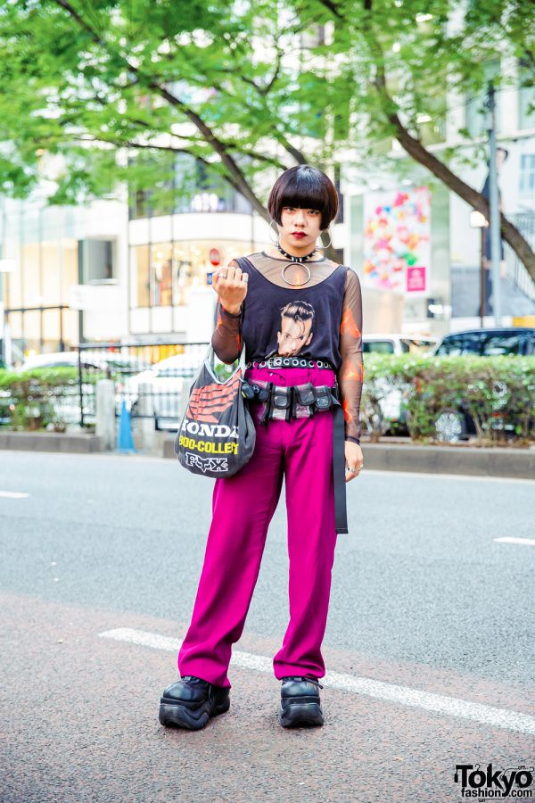 Tokyo Street Style w/ Blunt Bob Hair, Oversized Hoop Earrings, Never Mind the XU, Zara Fuchsia Pants, Tiffany & Co, Honda & Demonia Shoes