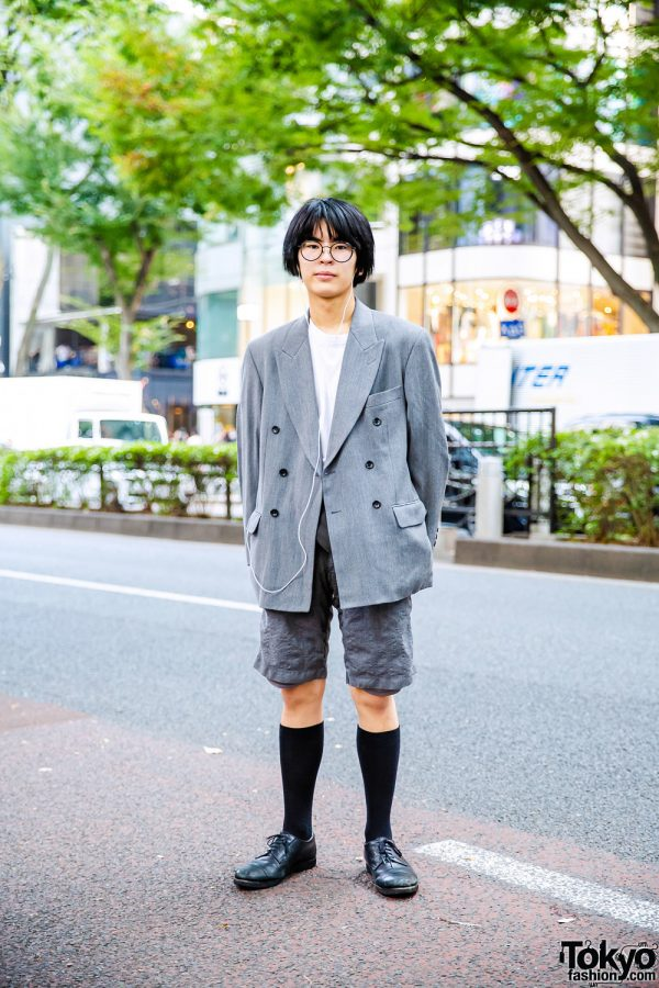 Harajuku Menswear Street Style w/ Round Glasses, Kenzo Double-Breasted Jacket, Junya Watanabe Bermuda Shorts, Knee High Socks, Porter & United Arrows