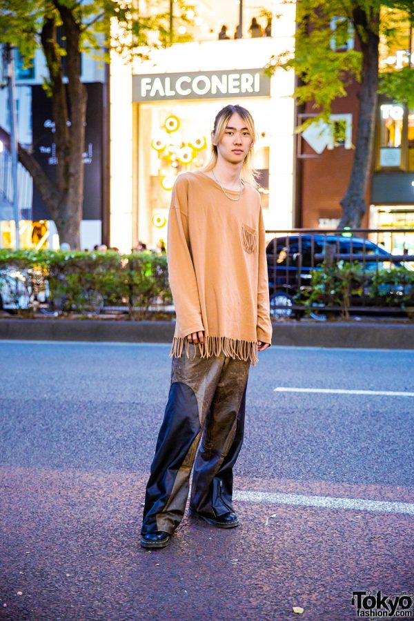 Casual Harajuku Street Style w/ Remake Fringe Shirt, Chain Necklace, Two-Tone Pants & Dr. Martens Boots
