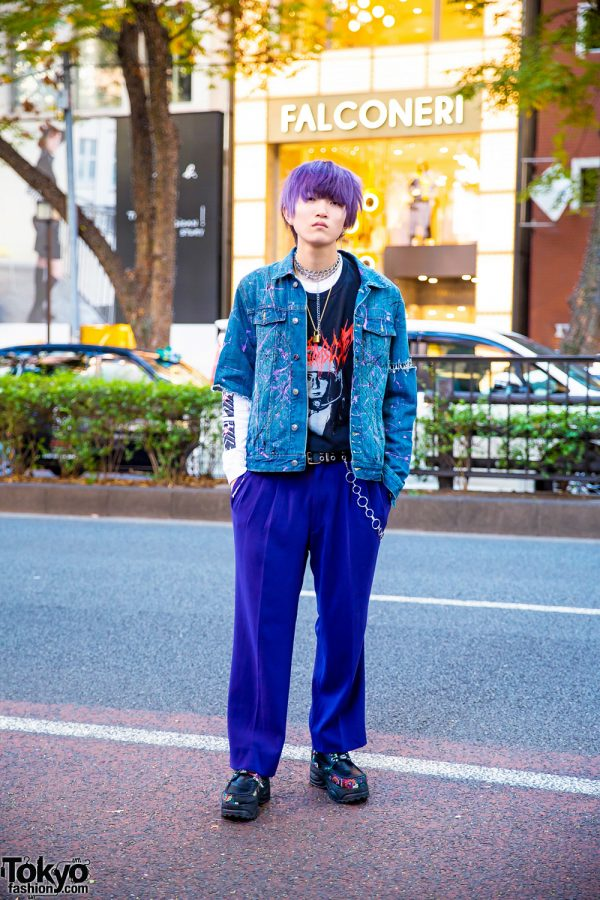 Harajuku Street Style w/ Purple Hair, Chain Jewelry, Remake Denim Jacket, MCM Pants & Yosuke Platforms