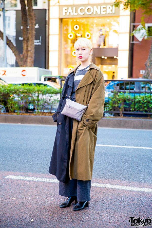 Tokyo Hair Stylist's Street Style w/ Silver Jewelry, OY Two-Tone Trench Coat, Agnes B, Jumpsuit, Crossbody Bag & Zara Boots