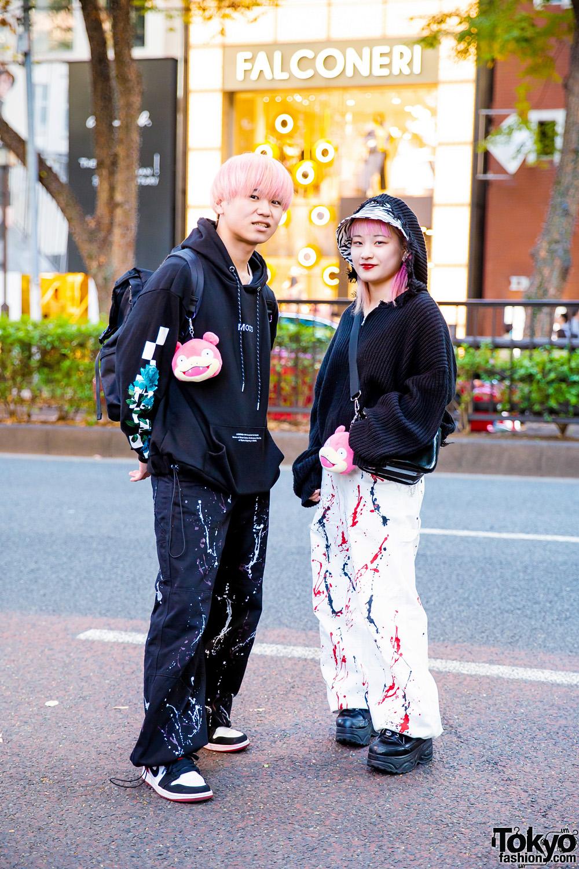 Japanese Street Styles w/ Pink Hair, Legenda Hoodie, Oh Pearl Hoodie, Faith Tokyo Paint-Splattered Pants, Pokemon Yadon Keychains, Nike & Yosuke