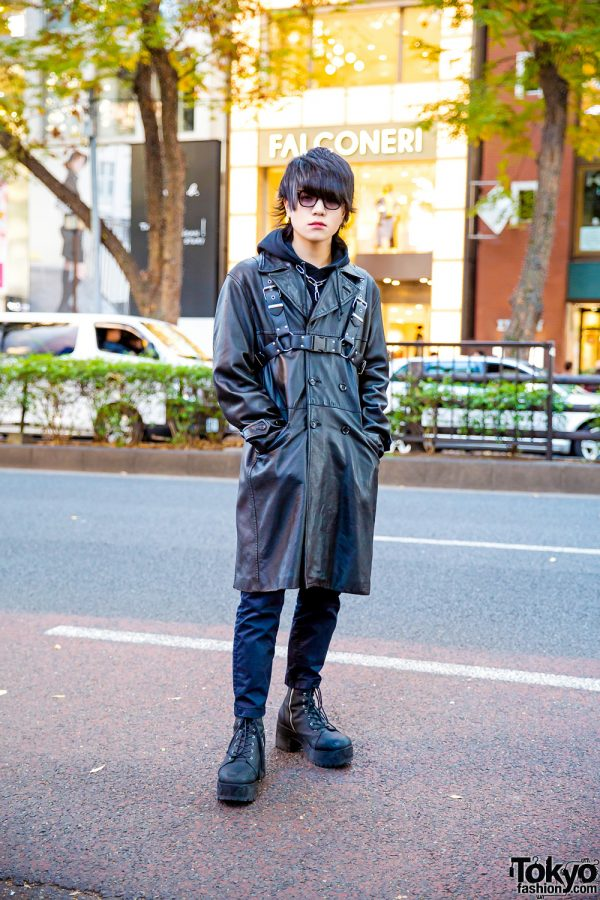 All Black Harajuku Street Style w/ Harness Over Takeo Kikuchi Leather Coat, Hoodie, H&M & Dolls Kill Boots