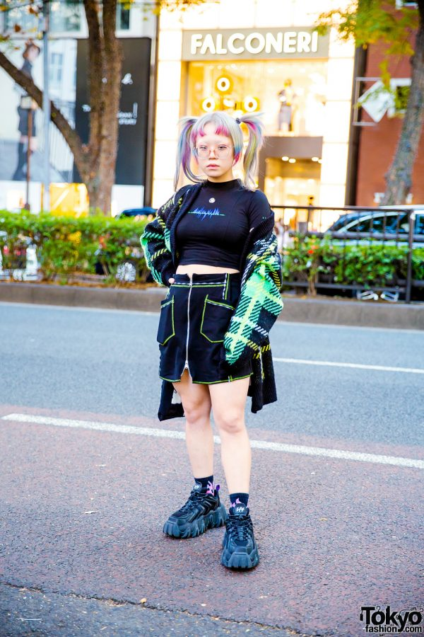 Harajuku Style w/ Twin Tails, Rainbow Highlights, Plaid Cardigan, Crop Top, MCQ Skirt, Handmade Tote & Eytys Chunky Sneakers