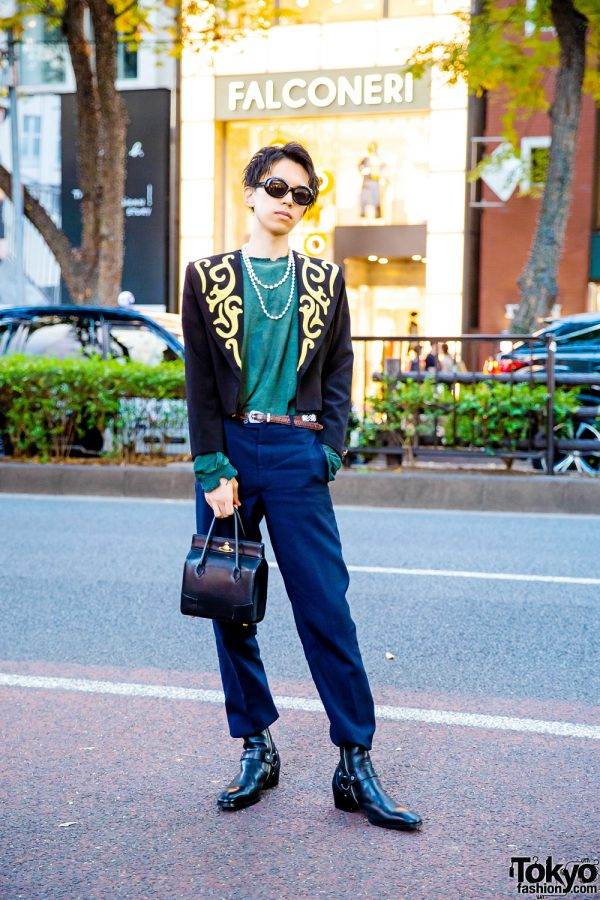 Harajuku Street Style w/ Cropped Baroque Blazer, Open The Door Sweatshirt, Handmade & Resale Fashion, Vivienne Westwood Bag & YSL Harness Boots