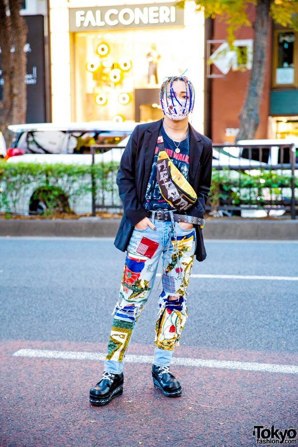 Japanese Street Style w/ Colorful Braids, Mask, Patchwork Jeans, Barbwire Boots & Cote Mer Waist Bag