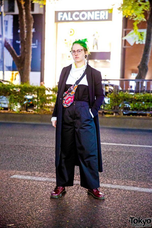Monochrome Style in Harajuku w/ Neon Green Undercut, Gauged Ears, Drug Honey Cowl Neck Sweater, Zara Pants, Bas Kosters Waist Bag & Dr. Martens