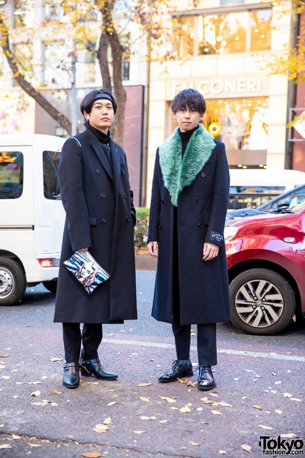 Japanese Menswear w/ All Black Dior, Striped Headband, Turtleneck Sweaters, Hand-Painted Clutch, Anton Berluti and Celine Leather Shoes
