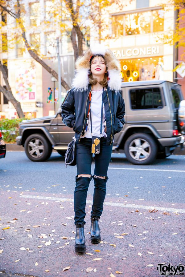Street Style in Harajuku w/ Faux Fur Bomber Jacket, Chrome Heart Cutout Shirt, H&M Ripped Jeans, Stella McCartney Chain Bag & Rakuten Boots