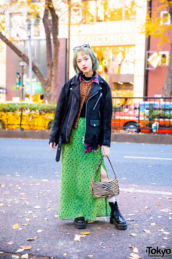 Japanese Model's X-Girl Street Style w/ Ombre Bob, Suede Jacket, Floral Print Maxi Skirt, Veil Handbag, Resale Fashion & Dr. Martens Boots