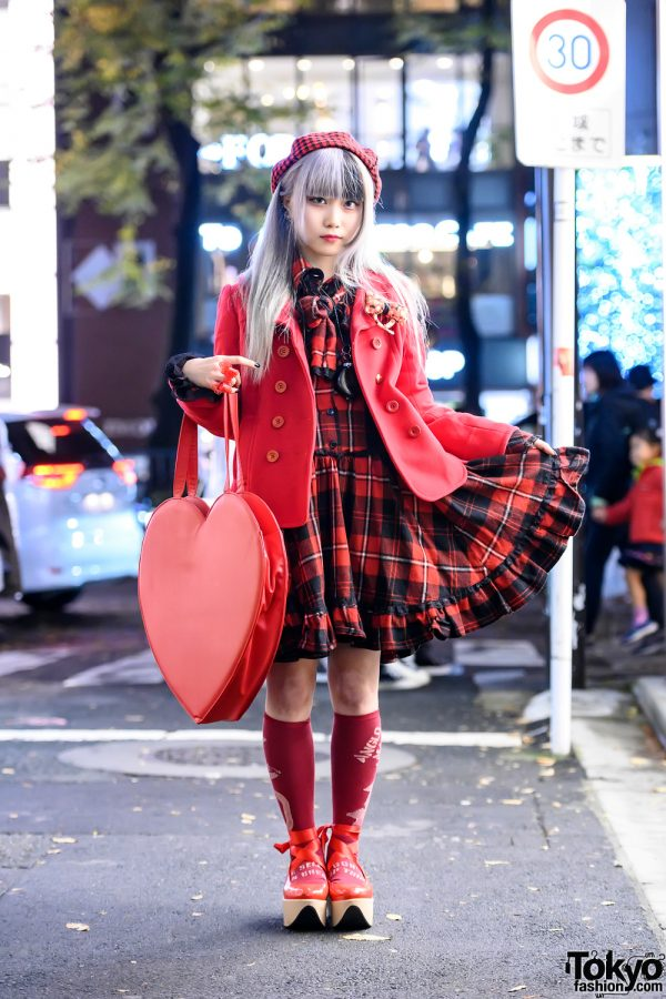 Harajuku Idol in Black & Red Street Style w/ Fangs, Plaid Dress, Rocking Horse Shoes, Giant Heart Bag & Quirky Accessories