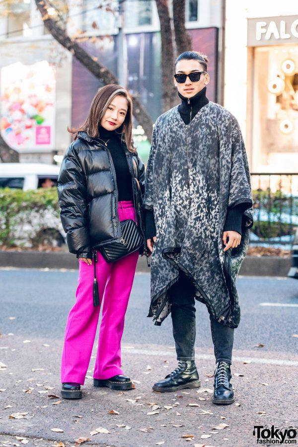 Street Fashion in Harajuku w/ X-Girl Puffer Jacket, UNIQLO, Sly, Maison Margiela, YSL Handbag & Dr. Martens Boots