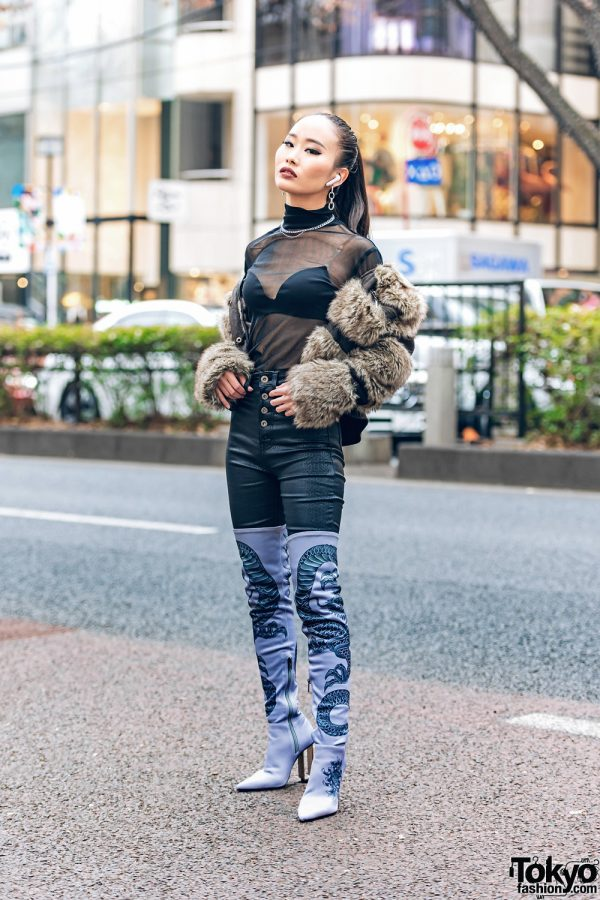 Sleek Tokyo Street Style w/ Ponytail, Pinnap Furry Jacket, Juemi Sheer Top, 24h Party Snakeskin Pants & Yello Shoes Dragon Boots